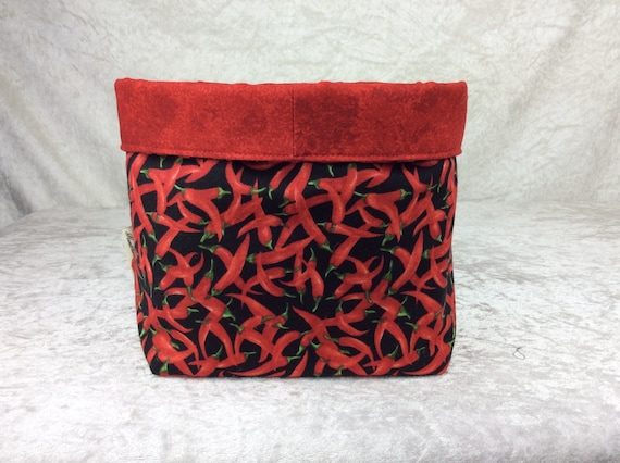 Basket storage bin box fabric handmade chillis chilli peppers