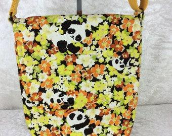 Pandas in Flowers shoulder bag purse cross body crossbody travel fabric