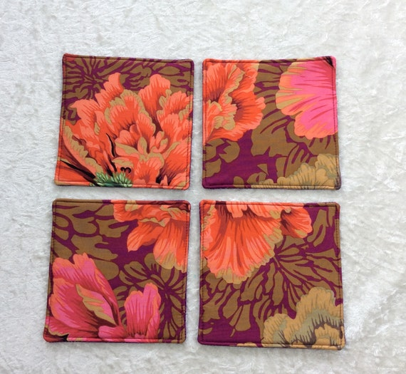 Fabric Coasters Flowers set of 4 mug mats Brocade Peony Kaffe Fassett Philip Jacobs