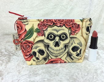 Handmade Zipper Case Zip Pouch fabric bag pencil case purse Alexander Henry Gothic Rose Tattoo Skulls