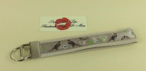 Birds Key Fob Wristlet Key Ring Chain Wrist Strap Lanyard Wedding Favours