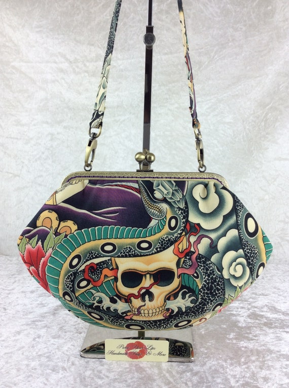 Gothic Skulls Snakes purse bag frame handbag fabric clutch shoulder bag frame purse  kiss clasp bag Handmade Alexander Henry Zen Charmer