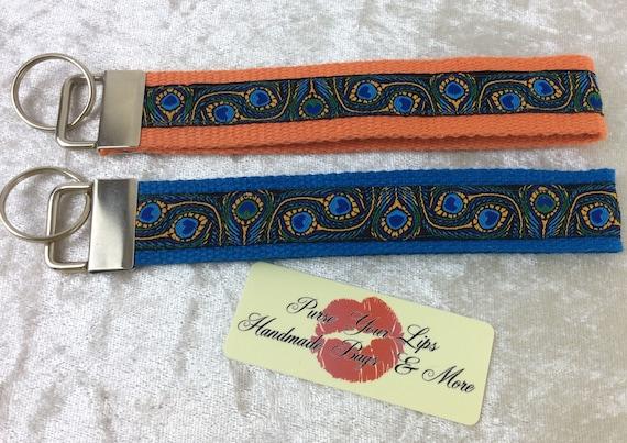 Peacock Feathers Key Fob Wristlet Key Ring Chain Wrist Strap Lanyard Wedding Favours