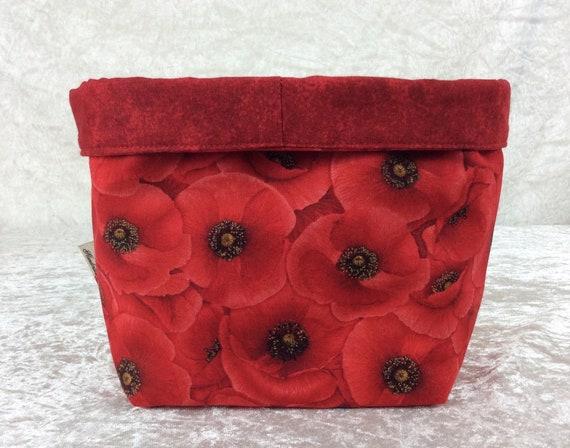 Basket storage bin box fabric handmade red poppies flowers