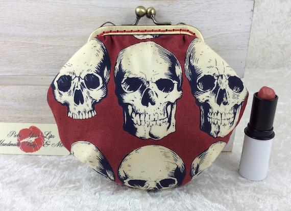 Coin purse wallet Gothic Skulls fabric kiss clasp frame wallet change pouch handmade frame Alexander Henry  Rad Skulls