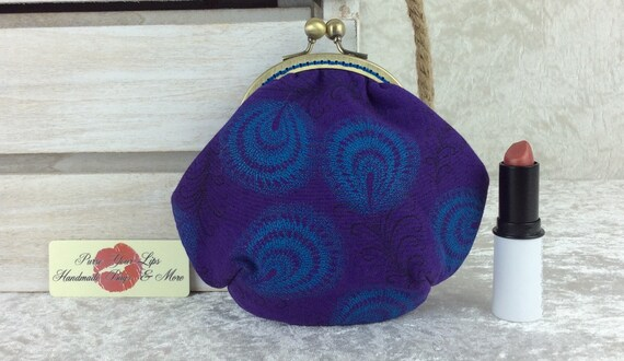Shwe Shwe Feathers coin purse wallet fabric kiss clasp frame wallet change pouch Purple South Africa hand stitched frame