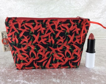 Handmade Zipper Case Zip Pouch fabric bag Pencil case purse Red Hot Chilli Pepper