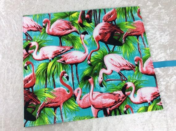 Makeup Pen Pencil Roll Flamingos Crochet Knitting needles tool organiser holder case wrap tropical birds