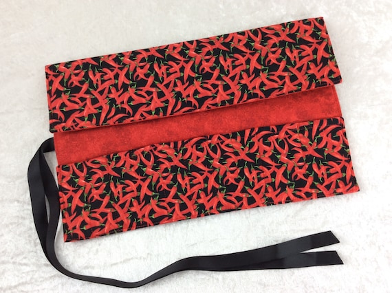 Makeup Pen Pencil Roll Chillis crochet Knitting needles tool organiser holder case wrap chilli peppers