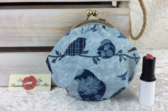 Coin purse wallet Birds fabric kiss clasp frame wallet change pouch handmade hand stitched frame