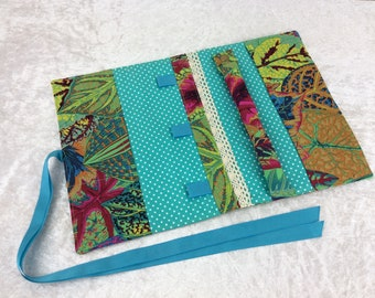 Handmade Jewellery roll organiser travel case Philip Jacobs Kaffe Fassett Coleus Leaves
