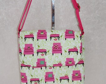 Handmade shoulder bag purse cross body bag The Jane fabric bag Pink Chairs