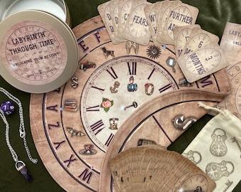 Labyrinth Through Time divination. Charm casting mat.  Charms. Tealeaf Reading. Similar Lenormand cards. Not tarot.Tea leaf reading.