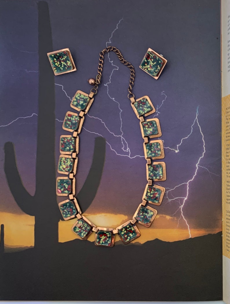 Vintage Matisse Copper and Enamel Necklace
