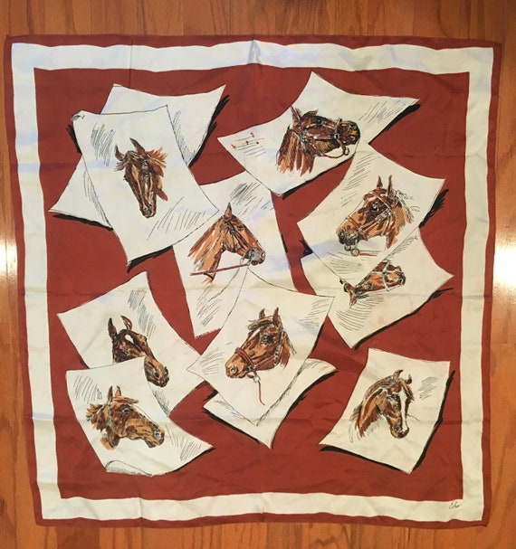 Vintage Echo Horse Head Sketches Silk Scarf