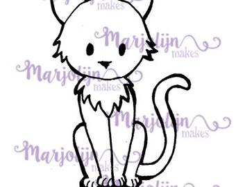 Cute Cat instant download digi stamp