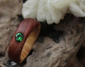 engagement ring girlfriend gift green stone ring 5th anniversary ring organic ring wood minimalist ring promise alternative wedding ring
