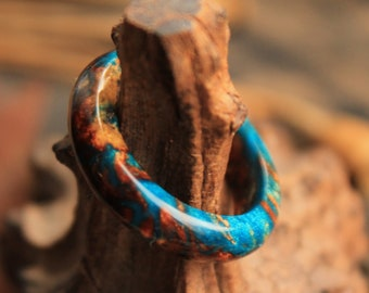teal ring eco gift turquoise ring brown gold ring organic resin ring  boho hippie ring alternative wedding ring gift for her bands ring