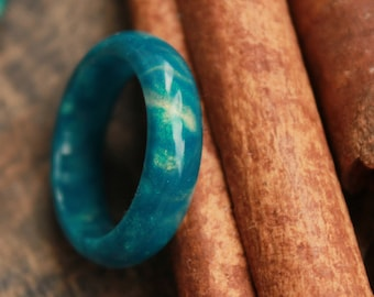 chrysocolla ring eco gift turquoise ring sea green ring organic resin ring emerald  jewelry boho hippie ring engagement wedding gift for mom