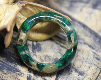 malachite ring eco gift wood ring emerald ring resin ring custom ring boho jewelry engagement ring wedding gift for her bands ring wooden