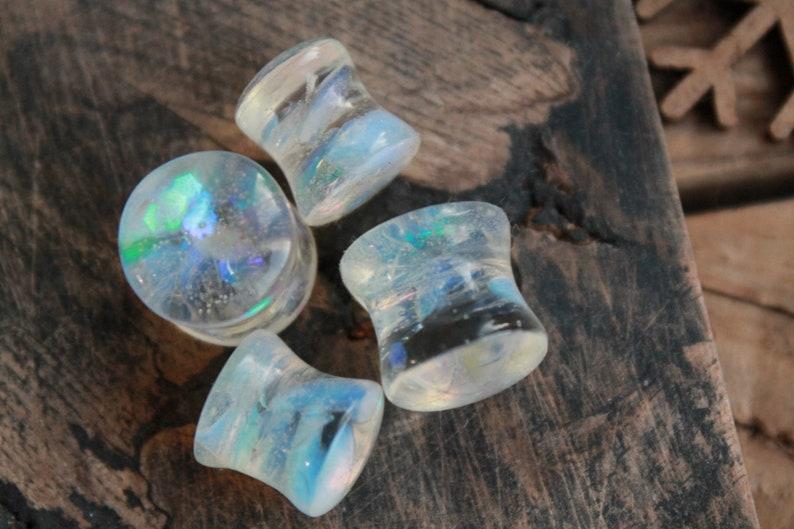 White Opalite Stone Plugs 00 gauge earrings Rainbow plug Iridescent plugs Gemstone plugs for men Wedding gauges Bridal gauges 2g 0g 1 inch