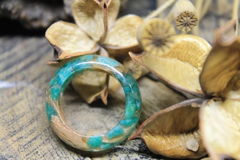 Jade ring eco gift amazonite ring sea green ring organic wood image 1