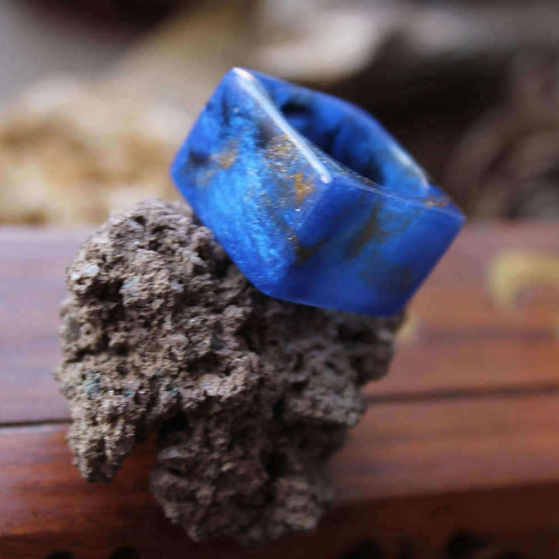 ring lapis lazuli jewelry blue gold ring sky jewelry resin ring geometric square ring gay jewelry men ring woman unusual ring fashion gift