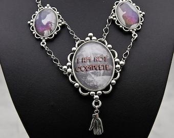 Edward Scissorhands quote I am not complete Tim Burton movie inspired Necklace Collier fashion jewelry Fandom XL hands silhouette shimmer
