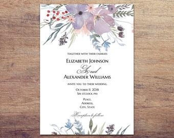 floral wedding invitation template burgundy wedding invites etsy