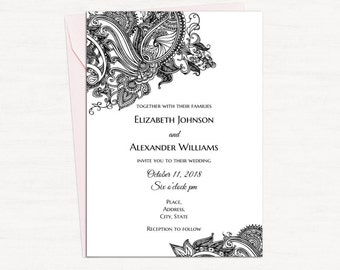 Butterfly Wedding Invitation Printable Black And White Wedding Etsy