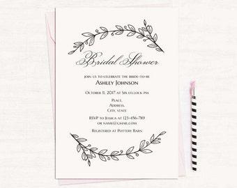 simple bridal shower invitation template black and white wedding shower invites printable digital download modern bridal shower diy t142