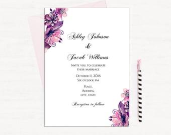 Purple Floral Invitation Template Wedding Invitation Printable Etsy