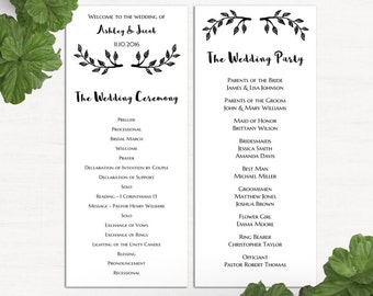 wedding program template minimalist ceremony card printed etsy