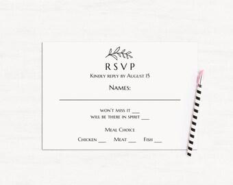 green wedding rsvp cards template greenery wedding response etsy