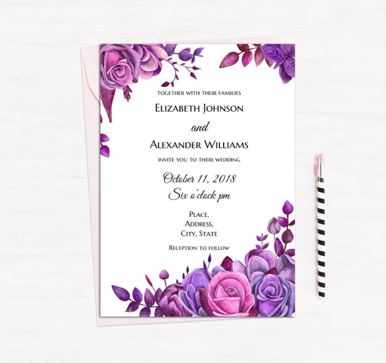 Purple Roses Invitation Template Floral Wedding Invitation