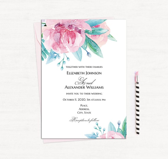Watercolor floral invitation template Boho wedding Pink Etsy