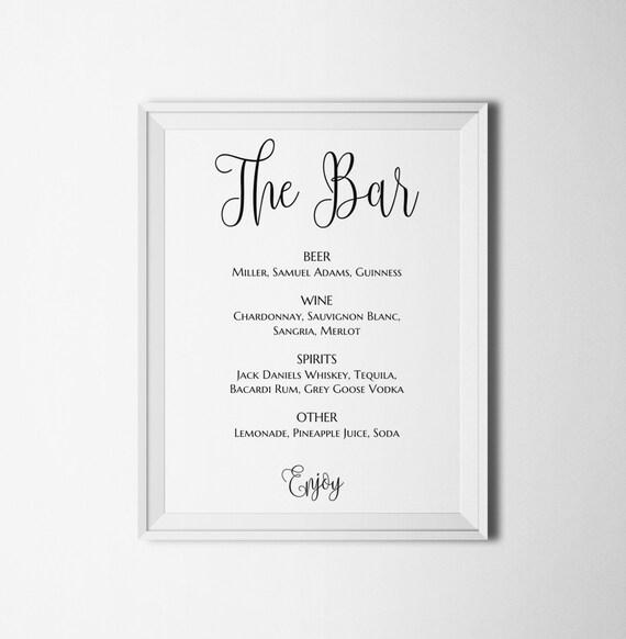 Hochzeit Bar Zeichen dass druckbare Getränke Hochzeit