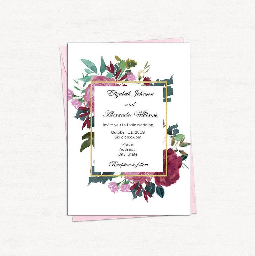 Floral Wedding Invitation Template Burgundy Wedding