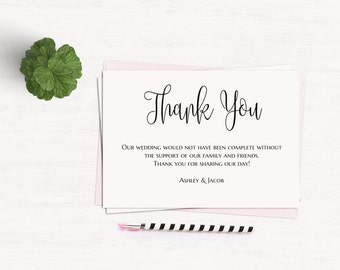 Thank you cards template Black and white wedding Thank you notes printable Modern wedding cards Minimalist thank you Digital download T140