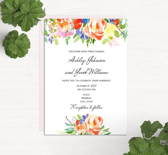 boho floral wedding invitation template word summer invites etsy