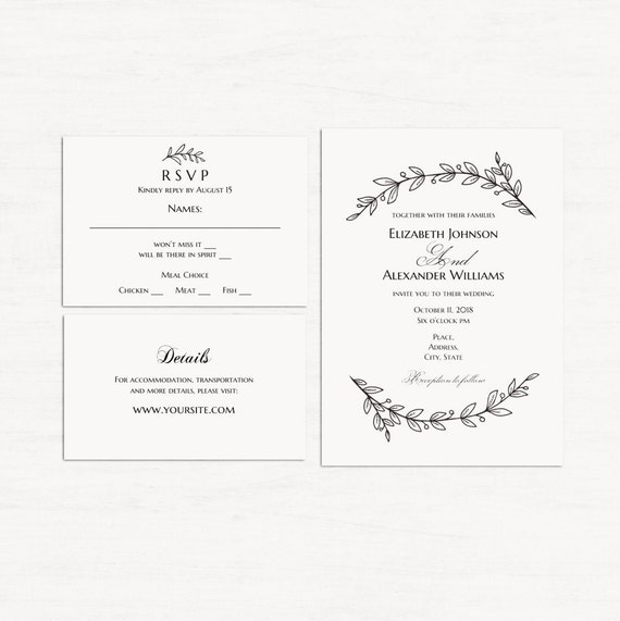 picture about Printable Invitation Kits called Basic invitation kits template Minimalist wedding day established Black and white invitation fastened Floral wedding ceremony kits printable Invitation and rsvp T142
