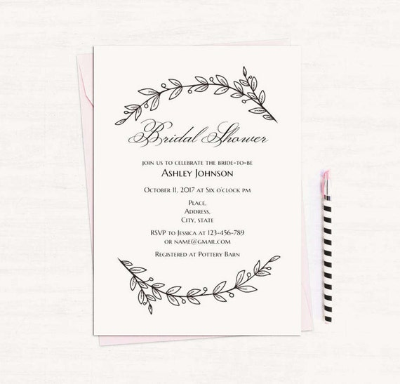 Simple bridal shower invitation template black and white etsy image 0 filmwisefo