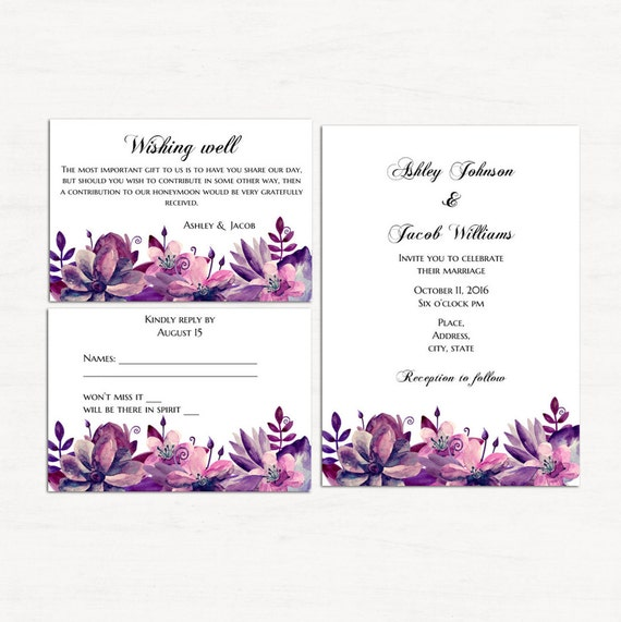 Invitación floral kits imprimibles púrpura boda set plantilla