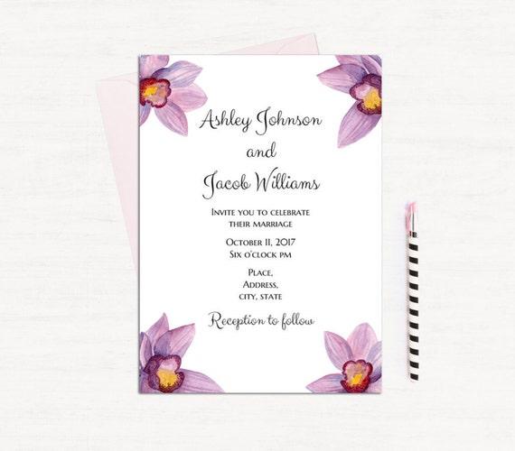 Hawaii Hochzeit Einladungen zum Ausdrucken Orchidee Hochzeit | Etsy
