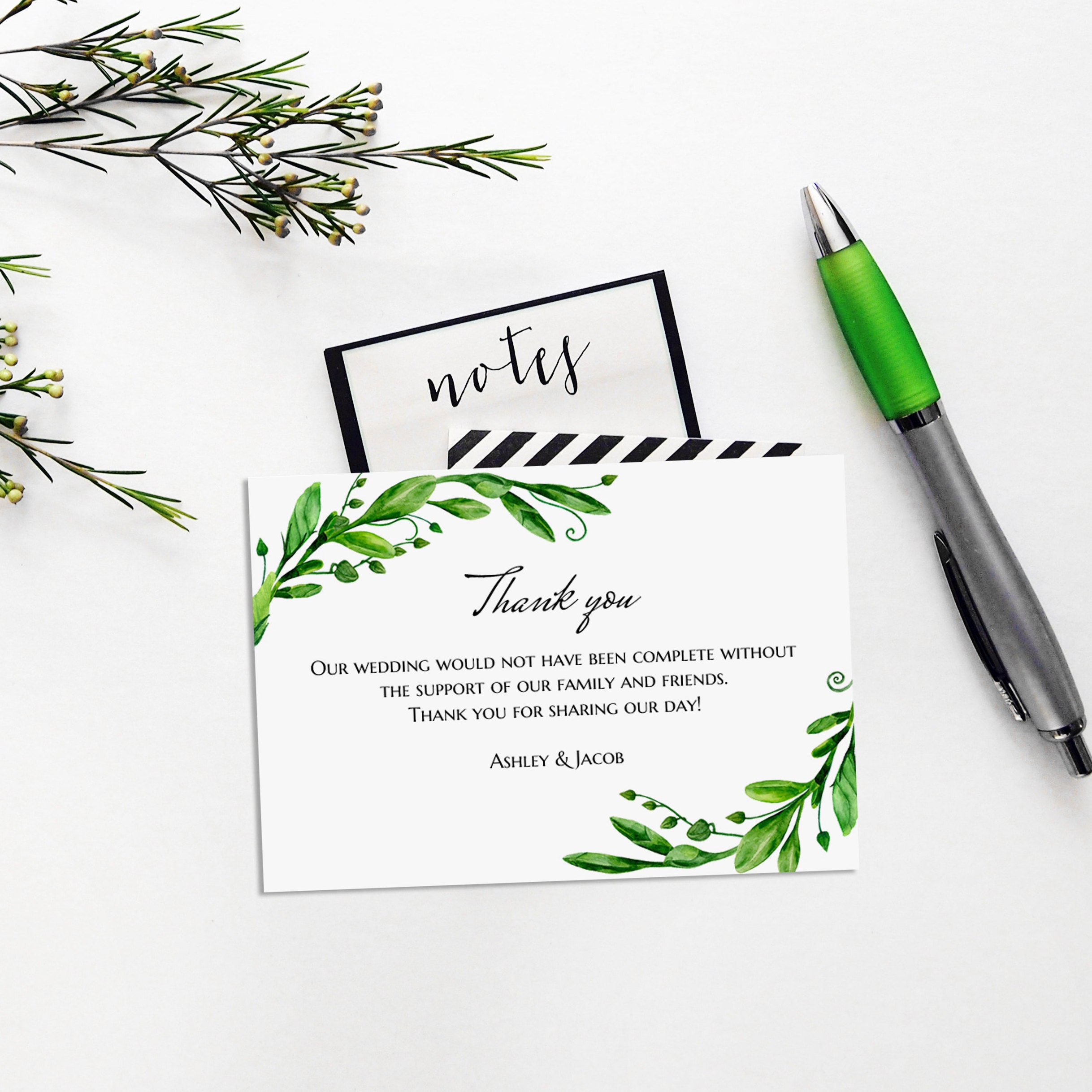 green thank you cards template summer wedding thanks card