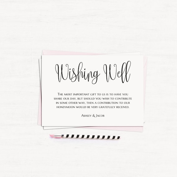 Wishing Well Cards Minimalist Wedding Wishing Well Printable Etsy