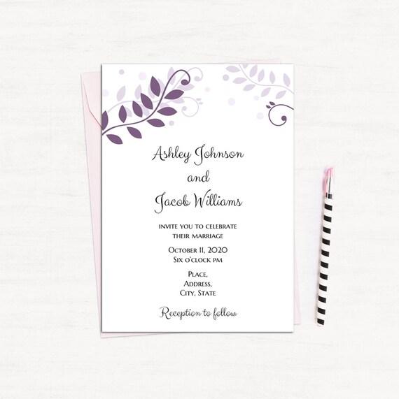 Plum Invitation Printable Purple Wedding Invitation Card Diy Etsy
