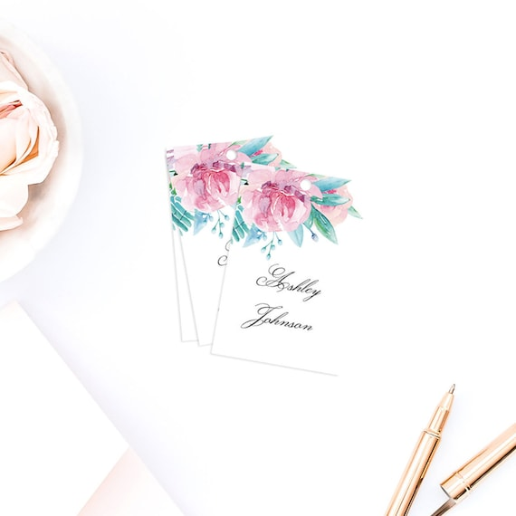 Pink flowers name tags template summer wedding watercolor etsy image 0 mightylinksfo
