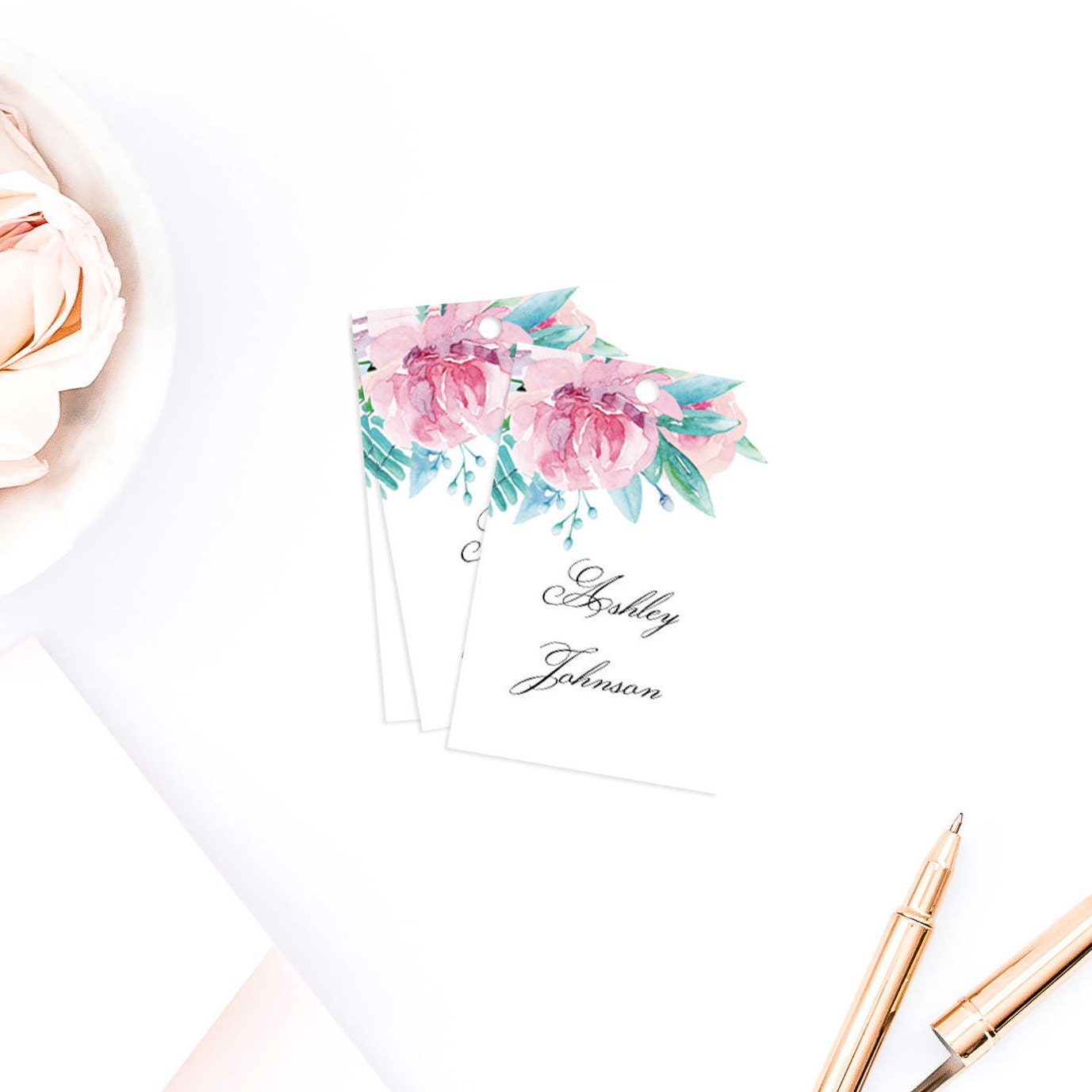 Pink Flowers Name Tags Template Summer Wedding Watercolor Etsy
