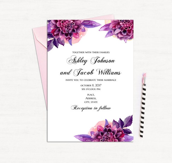 photo regarding Wedding Cards Printable known as Pink floral invitation template Wedding day invitation printable Lavender invitations do it yourself Intimate marriage invitation card Fast down load 1W125
